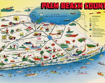 Palm Beach County Florida State Map Sunshine State Vintage Postcard (unused)
