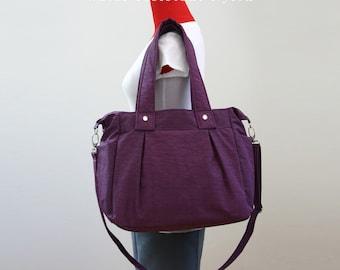 SALE - Purple Water-resistant Nylon Bag, Diaper bag, Women, Shoulder bag, Tote bag, Messenger bag, Beach bag, 3 Compartments - Nuch