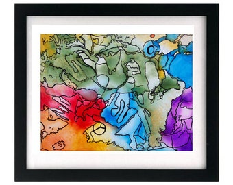 Colorful Abstract Art Giclée Print, FREE shipping, Signed Artwork, Original Painting Replica
