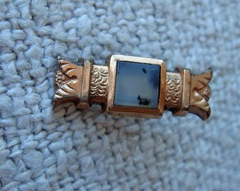 Tiny Little Victorian Bar Button With Agate Gold Fill Sew On Antique  Doll Jewelry Reuse Repurpose