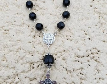 Hand Made One decade pocket Rosary, St. Benedict Center and Crucifix
