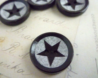 Round Wooden Star Button - 20mm - Pack of 10