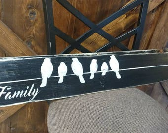 Family with birds on wire pallet art. Customize amount of birds for how many family members you have.
