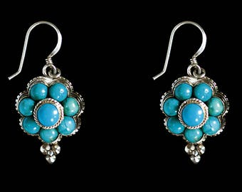 Turquoise and Silver Flower Earrings