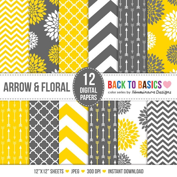 jaune moutarde et gris digital paper papier de scrapbooking. Black Bedroom Furniture Sets. Home Design Ideas