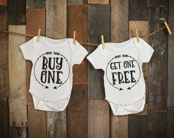 Buy One Get One Free ~~ Twin Baby Onesies ~~~Choice of Two colors ~~