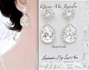Swarovski crystal teardrop earrings Halo crystal wedding earrings Brides Bridesmaids crystal earrings Wedding Bridal jewelry  SOPHIA