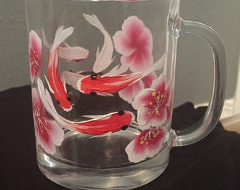Koi and Blossoms Hand Painted Coffee Cup