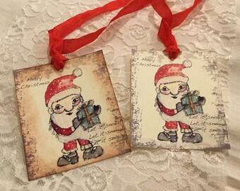 Mixed Media Gift Tag, Original Hand Drawn, Gift Tag, Merry Christmas Gifts Tags, Holiday Tags, Handmade Gift Tags, Water Color Santa Tag