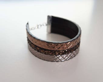 Faux leather snake - Serpent copper bracelet