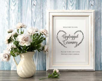 Unplugged Ceremony Sign Editable Template, heart wreath unplugged ceremony sign, printable pdf