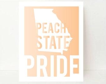 Georgia State Print- State Artwork- Georgia State- Peach State Pride- Dorm Room Decor- Georgia Map- Georgia Art Print- Georgia Poster