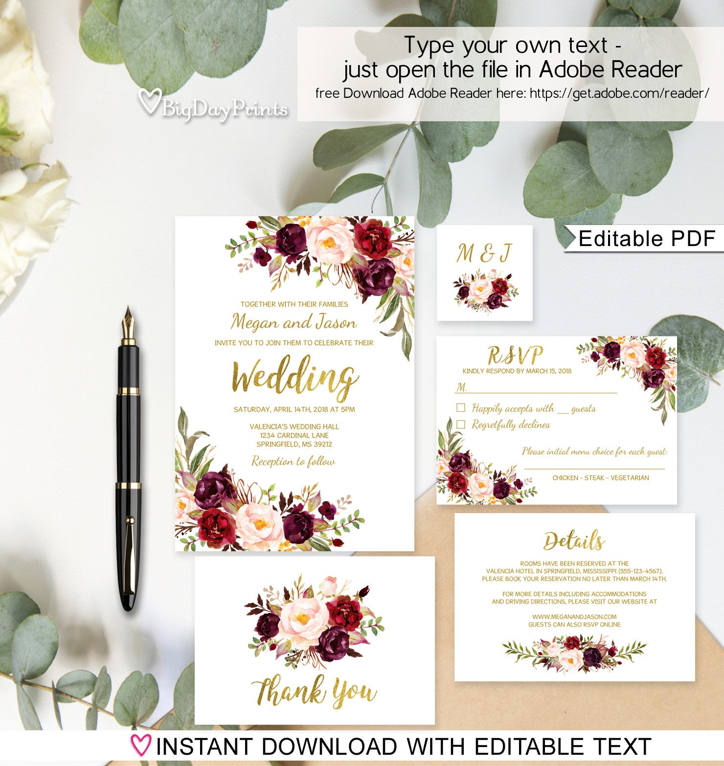 Floral Wedding Invitation Template Boho Chic Wedding Invite