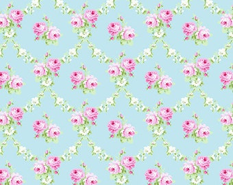 Free Spirit  Floral Tanya Whelan -Rose Trellis /Blue/Cotton/Fabric/Quilting/Sewing