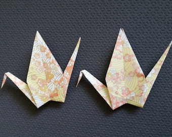 MADE to Order - Large origami paper cranes - Orange Cherry Blossom Sakura flower print - great for weddings, parties, photo backdrops