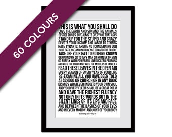 Leaves of Grass Walt Whitman - Literary Quote - Inspirational Art - Motivational Print - Typographic Print - Inspirational Poem - Poetry