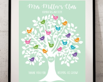 TEACHER Tree, Tree Personalized with Classmates Names, Teacher Appreciation Gift, End of year, Customizable, Teacher print, ANY SIZE