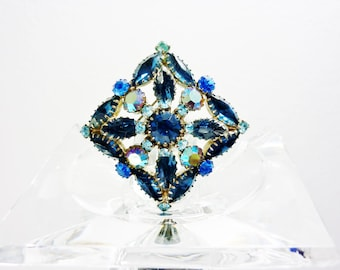 Juliana D&E Blue Aurora Borealis Square Pin Brooch