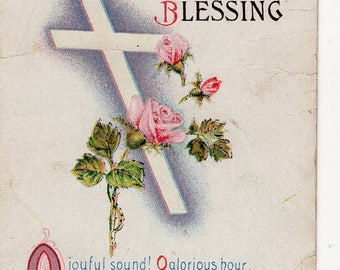 Easter Vintage Postcard cross with pink roses