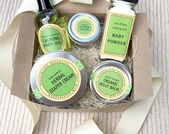 Organic Baby Shower Gift Set | New Mom Gift Basket | Mother's Day Gift for Mom to Be | Vegan Gift for New Mom | Pregnancy Gift