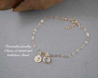 Birthstone with Initial Bracelet, Personalized Bracelet with Birthstone Charm Swarovski Crystals 14k gold filled Dainty Bracelet Adjustable