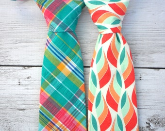 Coral neck ties, mint neck ties, ring bearer outfit, ring bearer neck tie, wedding neck ties for boys, wedding outfit for boys