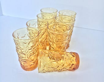 Set of Eight (8) Vintage Lido / Milano Juice Glasses by Anchor Hocking in Honey Gold, 1960s, MCM, Boho, vintage kitchen, Crinkle glassware