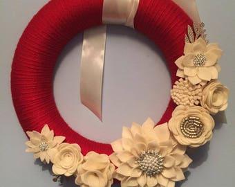 Cream and Red Felt Flower Wreath