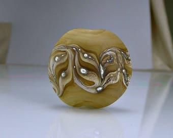 Etched Tan Ivory Silver Lentil Lampwork Focal Bead