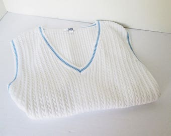 Ribbed Sweater Vest Pullover made by Tabi Womens Medium, White with Blue, Cedar Hanger included