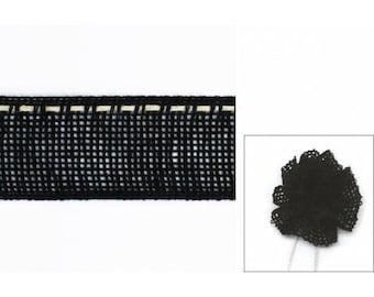 Ribbon linen flowers 30mm black collar