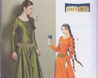 Butterick 4827 Misses Women's Medieval Ren Faire Noblewoman Costume Dress UNCUT Sewing Pattern