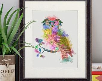 Owl gift - Owl in glasses - Forest owl art Owl decor Owl nursery Owl print Woodland owl print Owl art Owl decorations Owl art for kids
