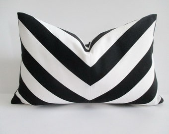 Cotton Pillow Cover Lumbar 12 x 18 Mitered Chevron Black White Stripes