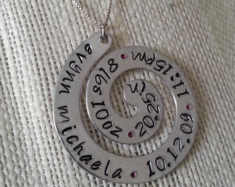Brand New Mommy Necklace with Baby Stats