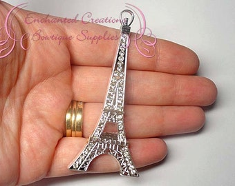 "4"" Silver Rhinestone Eiffel Tower Chunky Pendant, Paris Themed Keychain, Bookmark, Zipper Pull, Chunky Jewelry, Purse Charm"