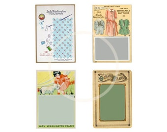 Vintage Button Cards, PDF, sewing gift tags, printable craft supplies, Sewing supplies, digital collage, sewing notions, buttons, gift tags