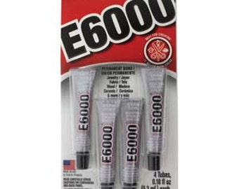4 Tubes E6000 Glue Mini 0.18 oz Tubes Clear Glue for Resin Cabochons, Glass, Plastic, Beads, and More!