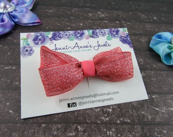 Large Glitter Bow Tie Clip - Red/Pink/Purple