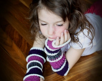Striped Fingerless Gloves pdf PATTERN, child and adult sizes, arm warmers, texting gloves, wristlets, mittens to crochet, digital download