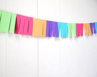 Garland /Dorm Decor / Fringe Garland / Party Decor / Home Decor /Photo Prop (Gold Purple Blue Green and Pink)