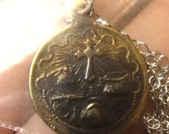 NURIA • Solid Sterling Silver Antique Holy Medal • Not A Reproduction