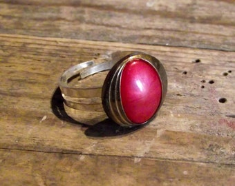 Ring adjustable vintage Red Oval button Adjustable oval vintage red button ring