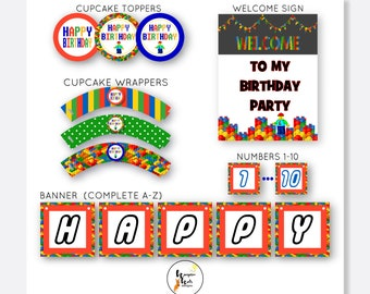 Brick Style Party Package, Brick Party Pack, Kids Birthday, Party Printable Brick, Personalized Birthday, Digital Download, Party Decor