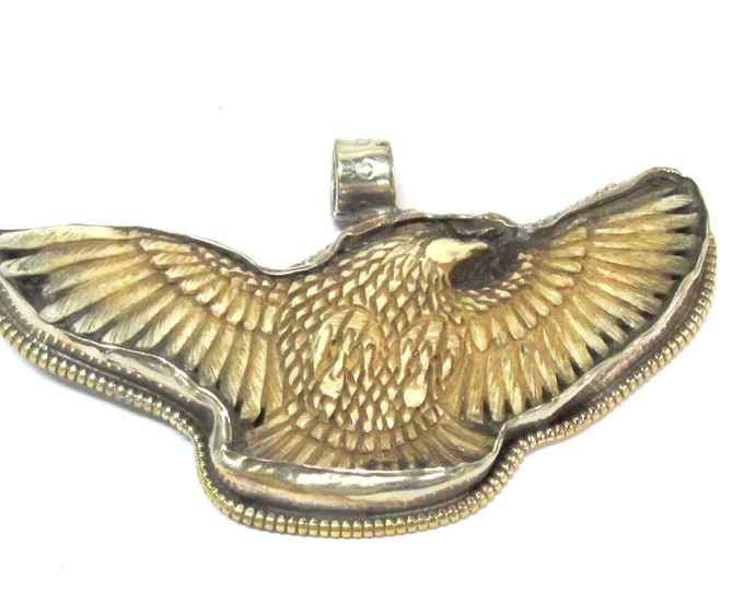 1 Pendant - Large carved bone eagle bird shape pendant  with floral carving on reverse side - PB007Q