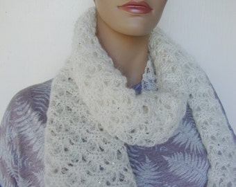 White Scarves, White Scarf, Sequin Scarf, Scarves, Crochet Scarf, Lace Scarf, Gift for Mom, Women's Scarves, Mohair Scarf, Mom Gift