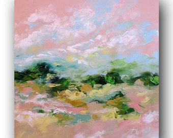 Original Abstract Landscape Painting Impressionist Art Wall Art Surreal Painting XL Acrylic Contemporary Canvas Painting by Linda Monfort