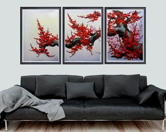 Cherry blossom wall art, Japan cherry blossom art, red cherry blossom painting, set of 3