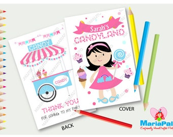 6 Candyland Coloring Books, Little Girl Candy Shoppe Birthday Personalized Coloring Books Party Favors  A1291