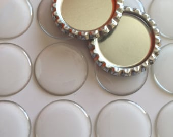 """100 pcs 1"""" Flattened Bottle Caps with no hole and Epoxy Stickers which can be used for jewelry, scrapbooking and more"""